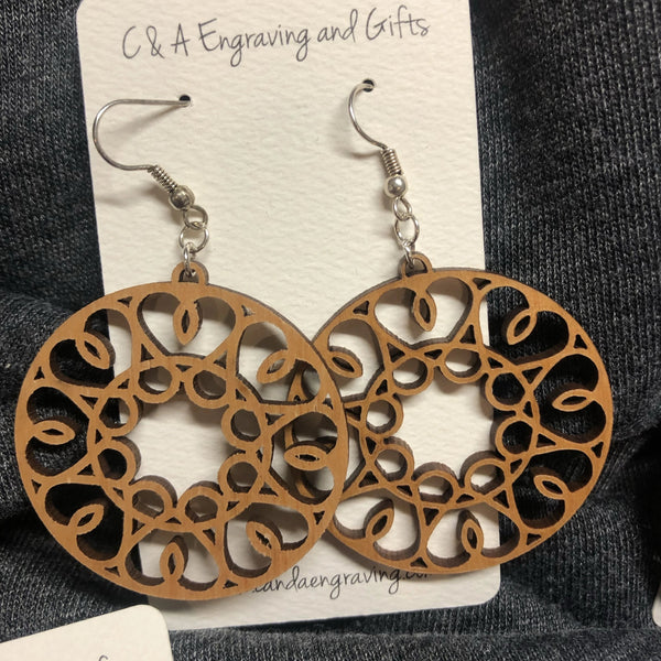 Wooden Circle Heart Dangle Earrings. Stained Birch Wood Laser Cut Earrings. - C & A Engraving and Gifts