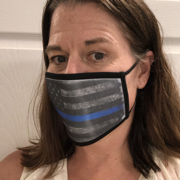 Flag Face Mask. American Flag Face Covering. Blue Line Flag Face Mask. - C & A Engraving and Gifts