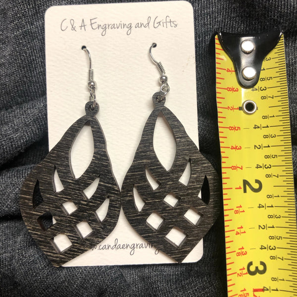 Wooden Mesh Teardrop Dangle Earrings. Stained Birch Wood Laser Cut Earrings. - C & A Engraving and Gifts