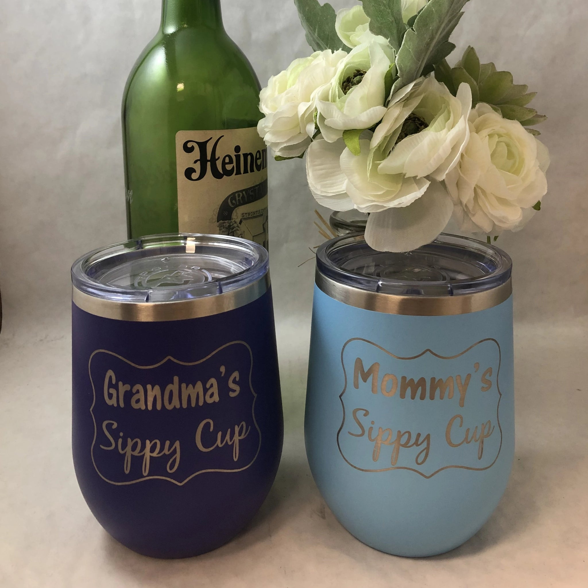 Grandma or Mommy Sippy Cup. Engraved Wineglass Tumbler. Mother's Day. New Mom Gift. - C & A Engraving and Gifts