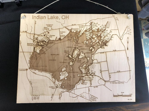 Indian Lake Ohio Engraved Wooden Map.