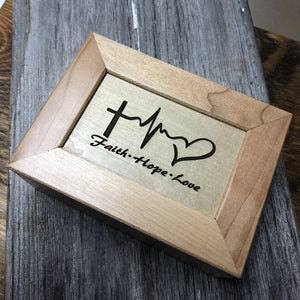 Maple Keepsake Box. Jewelry Box Rectangular Religious - C & A Engraving and Gifts
