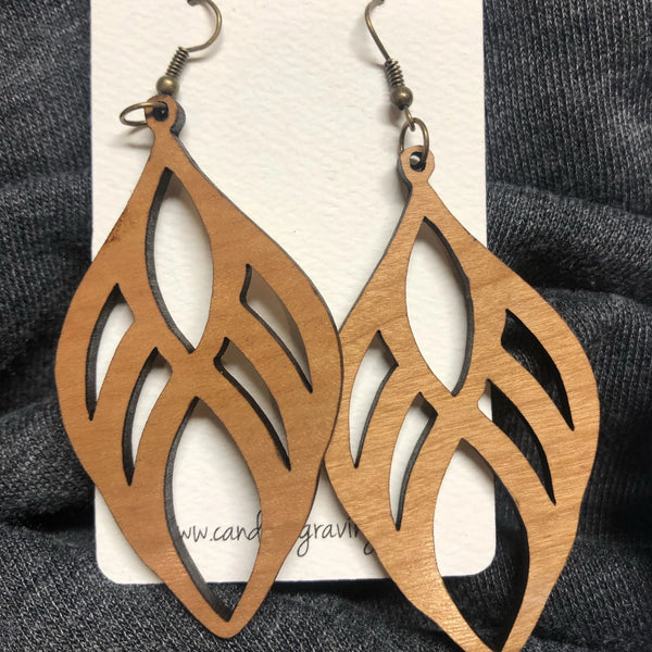 Wooden Teardrop Dangle Earrings. Stained Birch Wood Laser Cut Earrings.