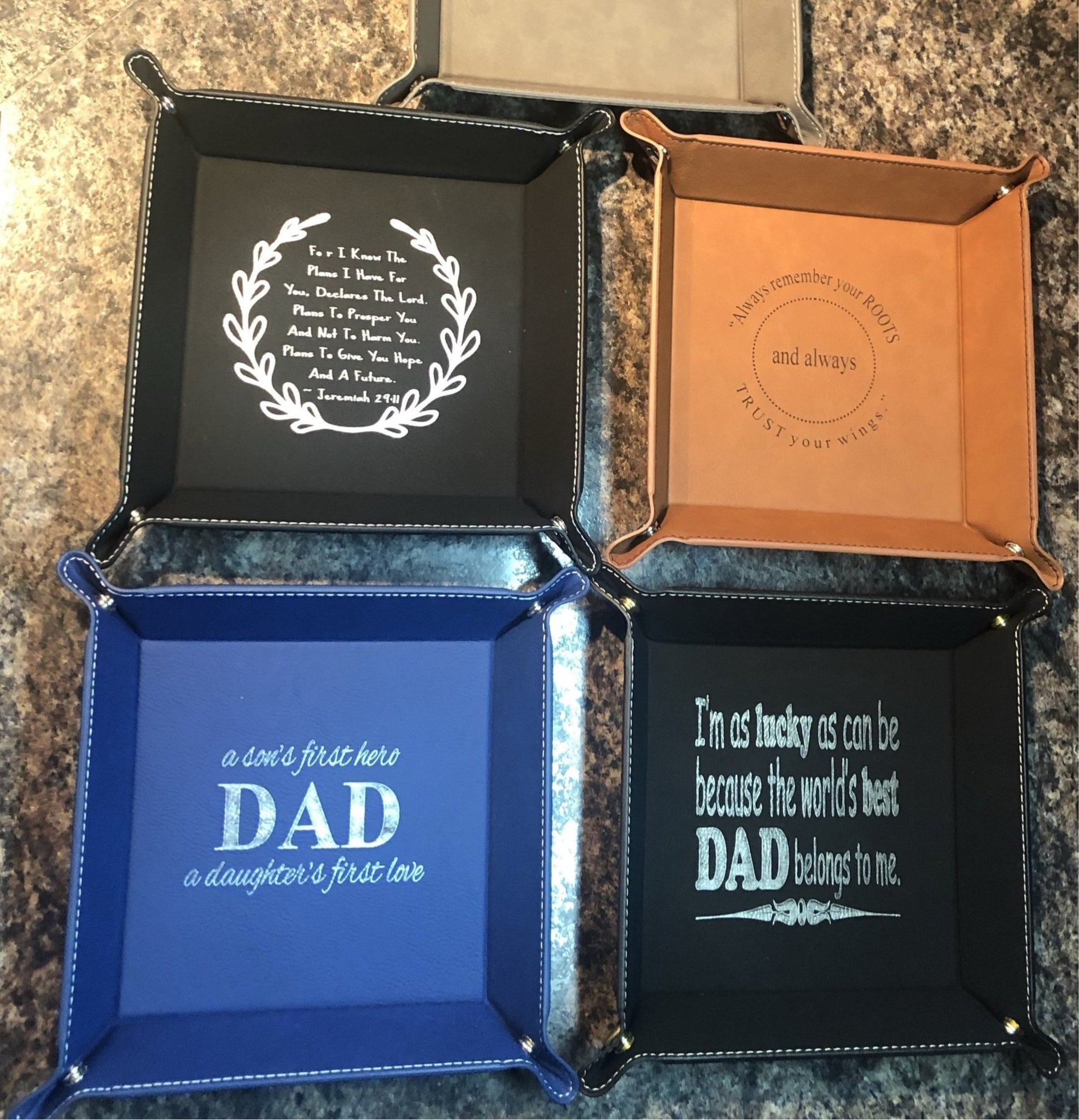 Men's Catchall Engraved Leatherette Tray. Dresser Organizer. - C & A Engraving and Gifts
