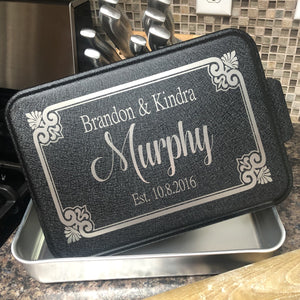 Personalized Wedding Aluminum Baking Pan with Lid. Wedding Engraved Cake Pan. Mr and Mrs Baking Pan. - C & A Engraving and Gifts