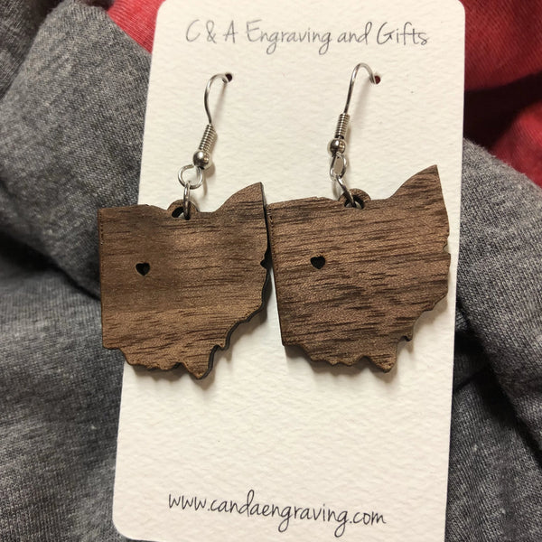 Wooden State of Ohio Dangle Earrings. Ohio Wooden Earrings. - C & A Engraving and Gifts