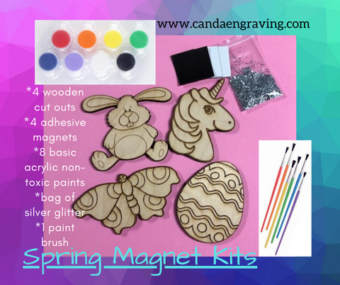 Kids Do It Yourself Painted Magnet Kits. Girls Easter Kit. Boys Easter Kit. - C & A Engraving and Gifts