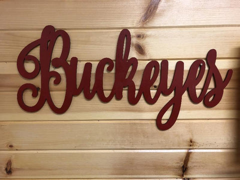 Buckeyes Word Cut Out. Wooden Ohio State Buckeyes Script. - C & A Engraving and Gifts