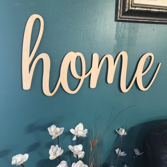 Home Words. Home Wall Decor. Wood Word Cut Out. Wooden Home Cut Out. Home Sign.