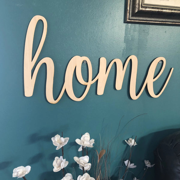 Home Words. Home Wall Decor. Wood Word Cut Out. Wooden Home Cut Out. Home Sign. - C & A Engraving and Gifts