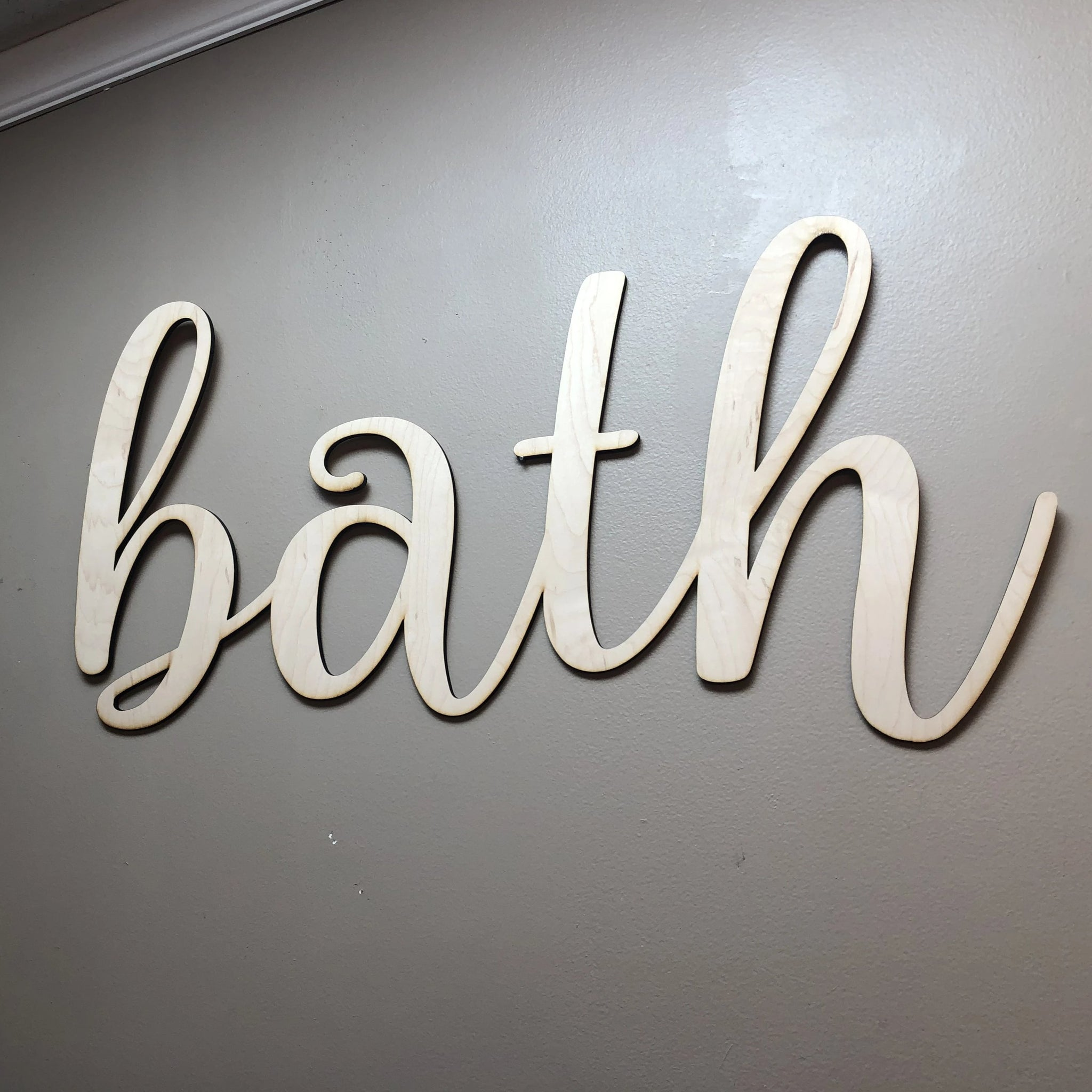 Bath Words. Bathroom Wall Decor. Wooden Bath Cut Out. Bath Sign. - C & A Engraving and Gifts