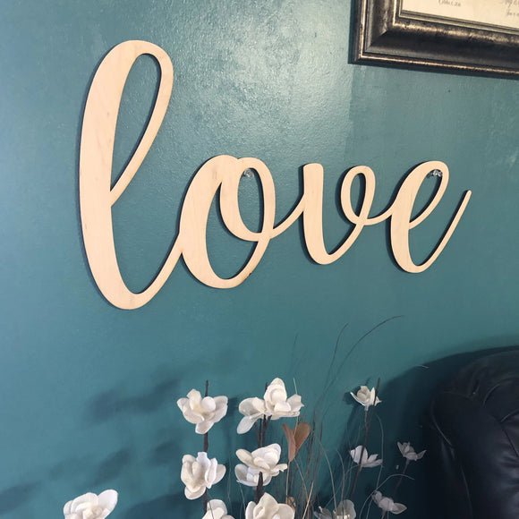 Love Words. Love Wall Decor. Wood Word Cut Out. Wooden Love Cut Out. Love Sign.