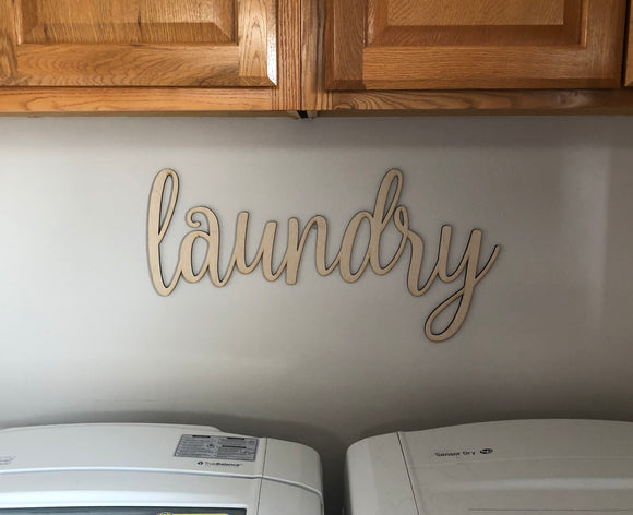 Laundry Words. Laundry Wall Decor. Wood Word Cut Out. Wooden Laundry Cut Out. Laundry Sign.