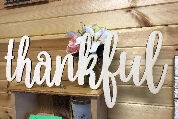 Thankful Words. Thankful Wall Decor. Wood Word Cut Out. Wooden Thankful Cut Out. Blessed Sign.