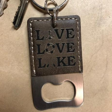 Key Chain Bottle Opener Leatherette Engraved Live Love Lake - C & A Engraving and Gifts