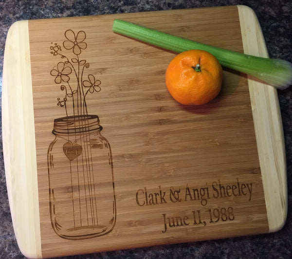 Personalized Mason Jar Wedding Anniversary Cutting Board - C & A Engraving and Gifts