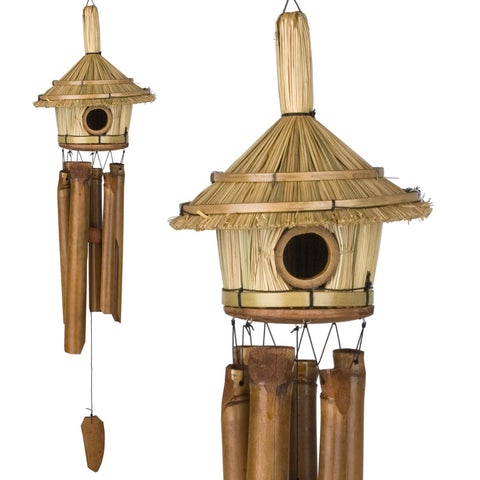 Bamboo Birdhouse Wind Chime. Thatched Roof Wind Chime. - C & A Engraving and Gifts