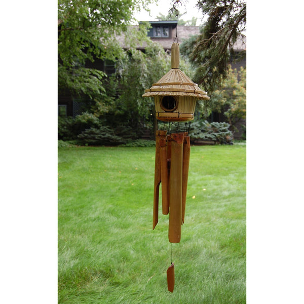 Bamboo Birdhouse Wind Chime. Thatched Roof Bamboo Wind Chime. - C & A Engraving and Gifts