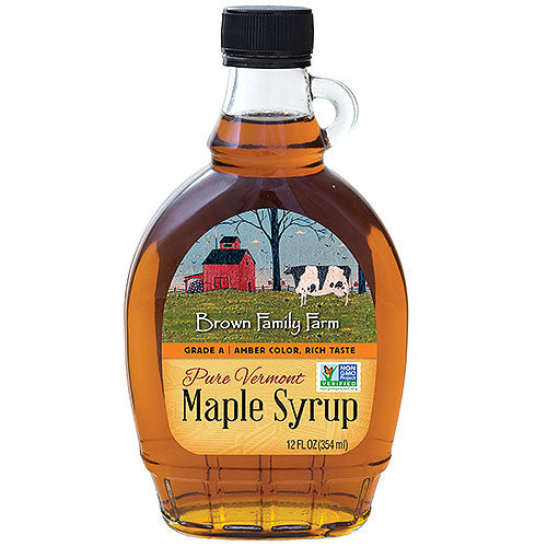 Grade A Amber Color Rich Taste Vermont Maple Syrup, 12 oz. bottle