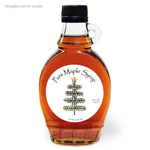 Grade A Dark Color Robust Taste Vermont Maple Syrup, 8 oz. Holiday Tree