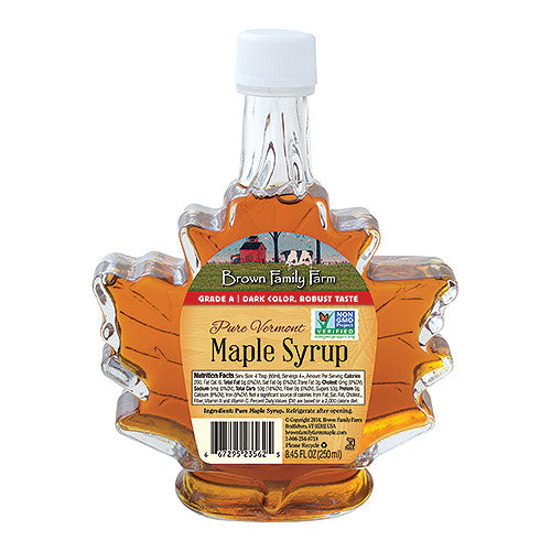 Grade A Dark Color Robust Taste Vermont Maple Syrup, 8.45 oz. leaf