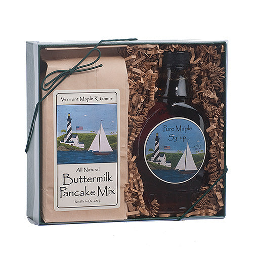 Gift Box 8 oz BFF Lighthouse Glass VT A Dark Robust Maple Syrup & 24 oz Buttermilk pancake mix