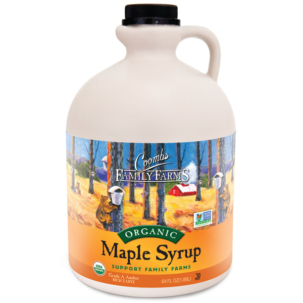 Grade A Amber Color Rich Taste Organic Maple Syrup, 64 oz. Jug