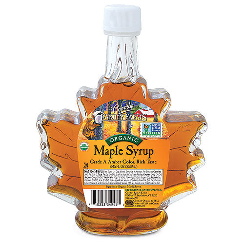 Grade A Amber Color Rich Taste Organic Maple Syrup, 8.45 oz leaf bottle