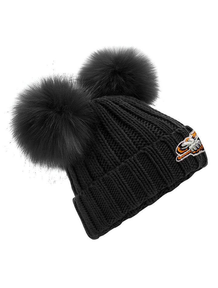 Junior Black Double Pom Pom Beanie