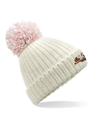 Steelers Off White Shimmer Pom Pom Beanie