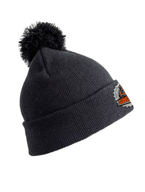 Dark Grey Double Layer Pom Pom Beanie