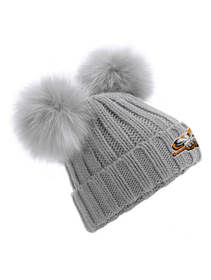 Junior Grey Double Pom Pom Beanie