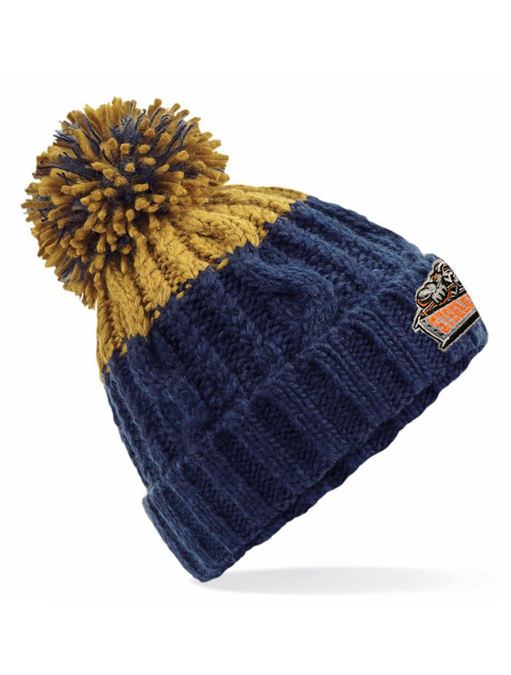 Steelers Oxford Navy and Mustard Beanie