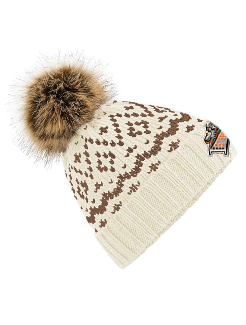 Off White Mocha Steelers Fair Isle Pom Pom Beanie
