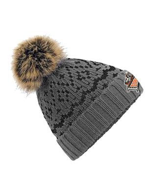 Smoke Grey Black Fair Isle Pom Pom Beanie