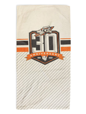 White 30th Anniversary Bath Towel