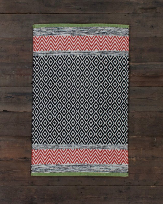 Diamonds & Chevrons Cotton Rug Orange Green