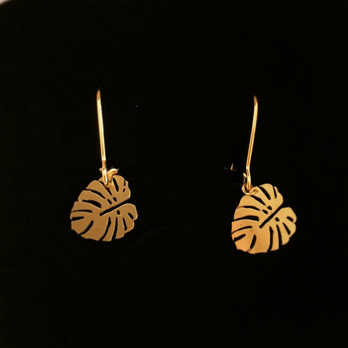 Monstera Golden Earrings