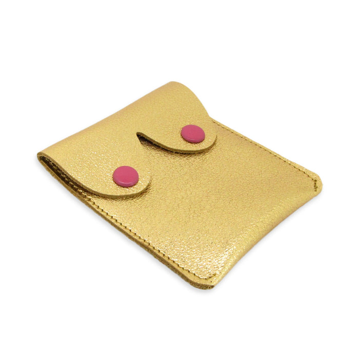 Leather Boob Purse Gold