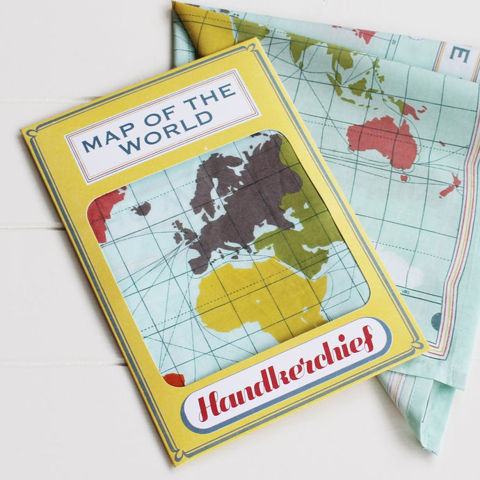 SALE Handkerchief world map