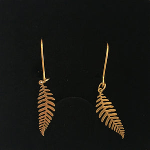 Fern golden earrings