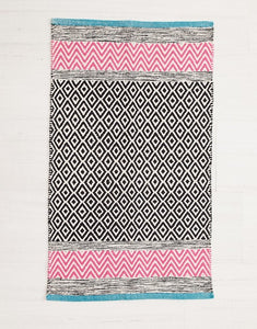 Diamonds & Chevrons Cotton Rug Pink Blue