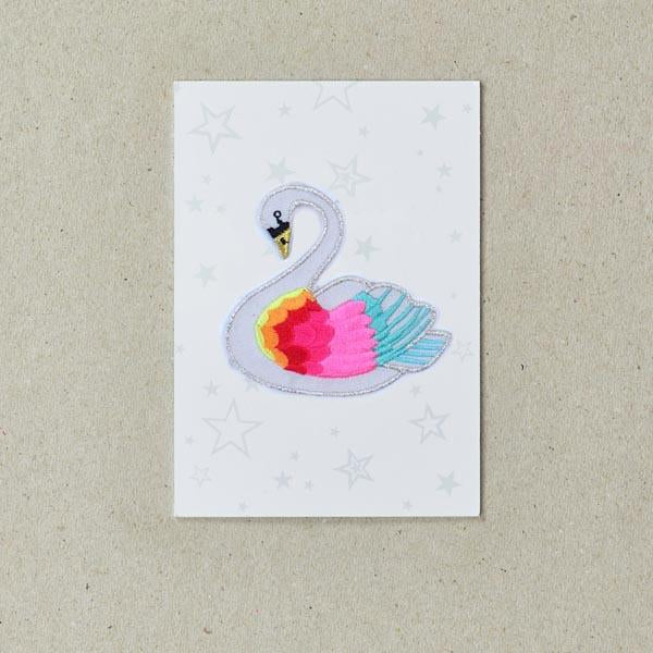 Rainbow Swan Iron on Patch