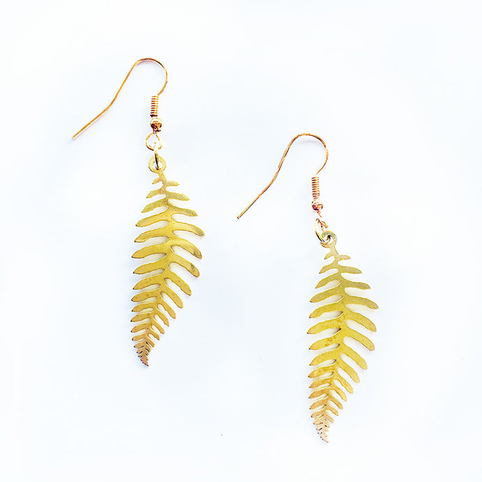 Fern Golden Earrings Large