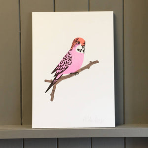 Risograph Pink Budgie Print