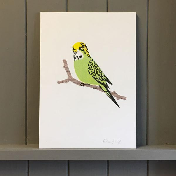 Risograph Green Budgie Print