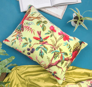 Lime Bird of Paradise Cotton Velvet Cushion