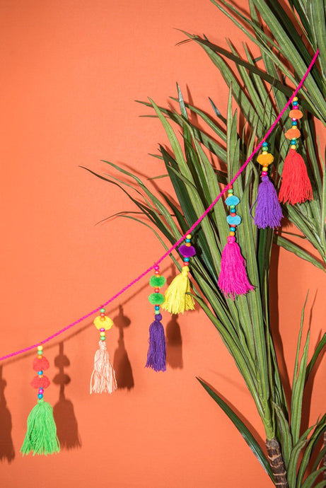 Multicoloured Tassel & Pom Pom Garland