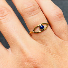 Load image into Gallery viewer, Brass ring eye lapis lazuli