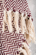 Load image into Gallery viewer, Aubergine Cotton Herringbone Throw